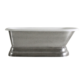 "'The Dalby66' 66"" Cast Iron Classic Pedestal Tub with Aged Chrome Exterior and Drain"