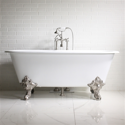 "'The Davington' 67"" Cast Iron Large Rectangular Clawfoot Tub with Fixtures"