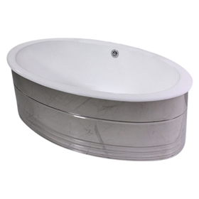 "'The Dorchester' 65"" Oval Cast Iron Double Ended Tub Package with MIRROR POLISHED Stainless Steel Exterior"