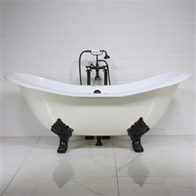 "<br>'The Dudley68' 68"" Cast Iron Double Slipper Clawfoot Tub Package with KOHLER BISCUIT Exterior plus Drain<BR>"