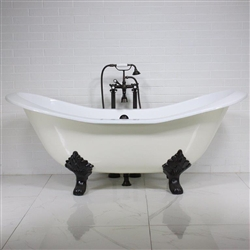 "<br>'The Dudley' 73"" Cast Iron Double Slipper Clawfoot Tub plus Drain<BR>"