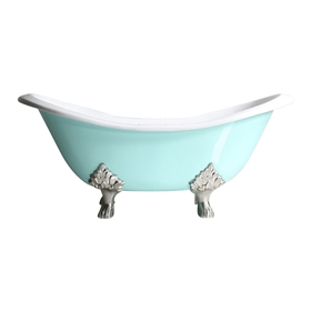 "<br>'The Dunstable68' 68"" Cast Iron Double Slipper Clawfoot Tub with AQUEDUCT BLUE Exterior plus Drain<BR>"