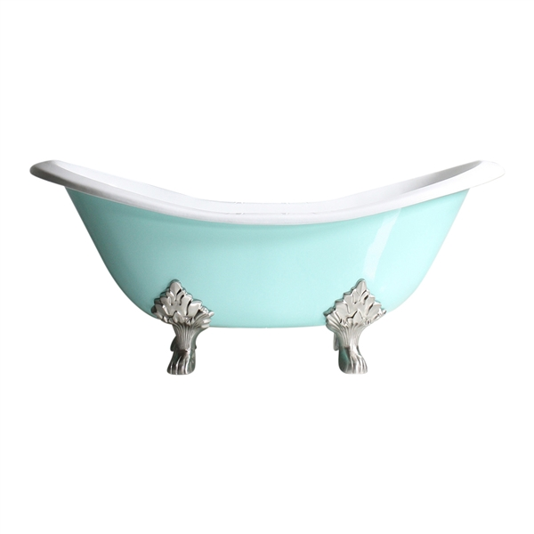 "Any Solid Color 'Dunstable-68' 68"" All Inclusive Cast Iron Double Slipper Clawfoot Tub Package"