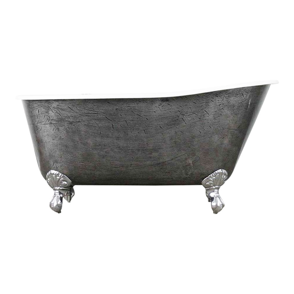 "<br>'The Easby' 57"" Cast Iron Swedish Slipper Clawfoot Tub with<BR>a HAND BURNISHED Natural Iron Exterior plus Drain<BR>"