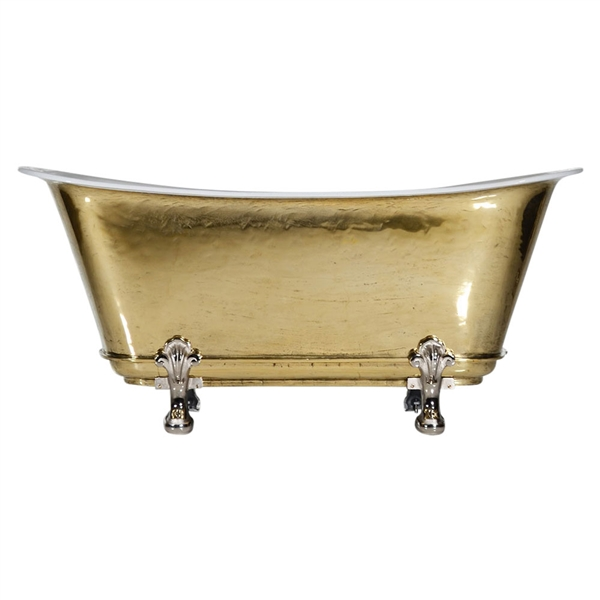 "'The Fontenay-PB-59' 59"" Cast Iron Chariot Clawfoot Tub with PURE METAL Polished Brass Exterior and Drain"