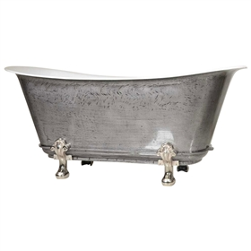 "'TheFontenay-IB-59' 59"" Cast Iron Chariot Clawfoot Tub with HAND BURNISHED Natural Iron Exterior and Drain"