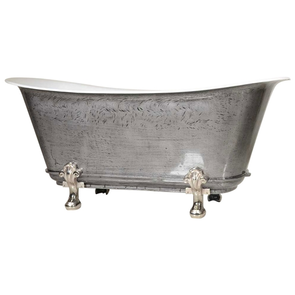 "'The Fontenay-IB-73' 73"" Cast Iron Chariot Clawfoot Tub with HAND BURNISHED Natural Iron Exterior and Drain"