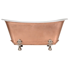 "'The Fontenay-LFCU-59' 59"" Freestanding Cast Iron Chariot Clawfoot Tub with a LIVING FINISH Copper Exterior plus Drain"