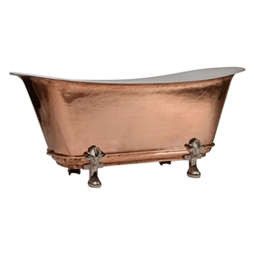 "'The Fontenay-PC-67' 67"" Cast Iron Chariot Clawfoot Tub with PURE METAL Polished Copper Exterior and Drain"