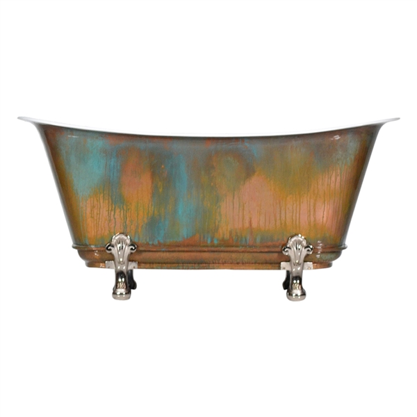 "'The Fontenay-59-VC' 59"" Cast Iron Chariot Clawfoot Tub with PURE METAL Verdigris Copper Exterior and Drain"