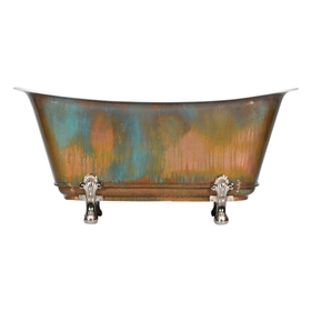 "'The Fontenay-67-VC' 67"" Cast Iron Chariot Clawfoot Tub with PURE METAL Verdigris Copper Exterior and Drain"