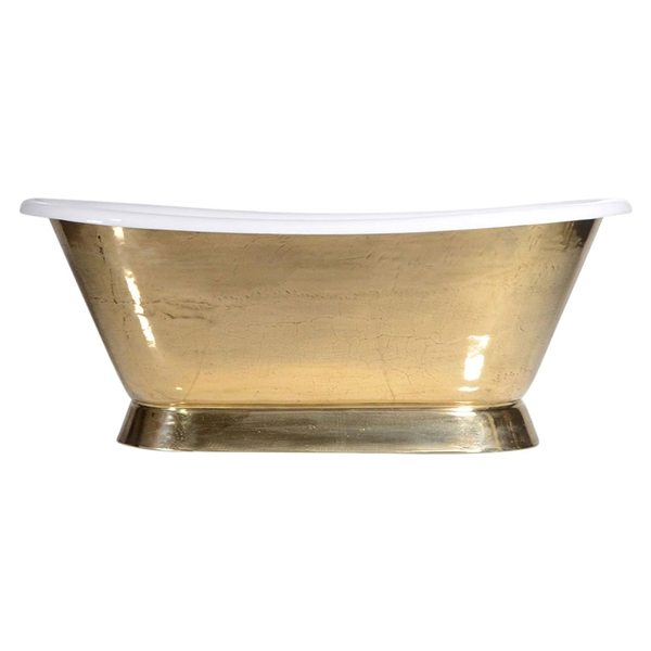 "'The Furness-PB-66' 66"" Cast Iron French Bateau Tub with PURE METAL Polished Brass Exterior and Drain"