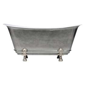 "'The Fontenay-AC-73' 73"" Cast Iron Chariot Clawfoot Tub with Aged Chrome Exterior and Drain"