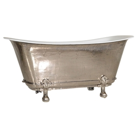 "'The Fontenay-PN-59' 59"" Cast Iron Chariot Clawfoot Tub with PURE-METAL Polished Nickel Exterior and Drain"
