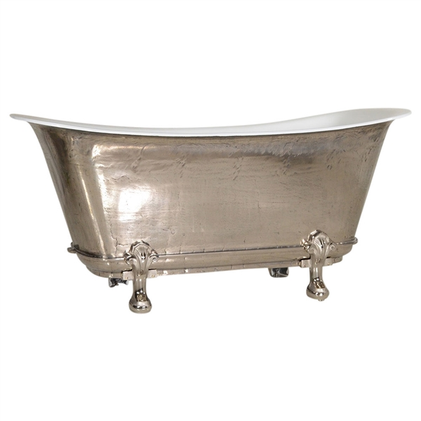 "'The Fontenay-PN-73' 73"" Cast Iron Chariot Clawfoot Tub with PURE-METAL Polished Nickel Exterior and Drain"