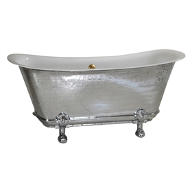 "'The Fontenay-PZ-59' 59"" Cast Iron Chariot Clawfoot Tub with PURE METAL Polished Zinc Exterior and Drain"