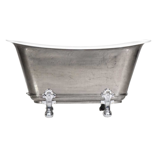 "'The Fontenay-SS-67' 67"" Cast Iron Chariot Clawfoot Tub with a Stainless Steel Exterior and Drain"