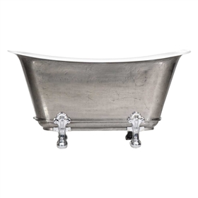 "'The Fontenay-SS-73' 73"" Cast Iron Chariot Clawfoot Tub with a Stainless Steel Exterior and Drain"