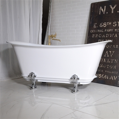 "'The Fontenay-WH-59' 59"" Freestanding Cast Iron Chariot Clawfoot Tub with a High Gloss White Exterior plus Drain"