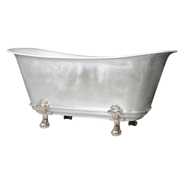 "'The Fontenay-LFZC-59' 59"" Freestanding Cast Iron Chariot Clawfoot Tub with a LIVING FINISH Zinc Exterior plus Drain"