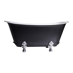 "'The Fontenelle59' 59"" Freestanding Cast Iron Chariot Clawfoot Tub with an Eggshell Onyx Black Exterior plus Drain"