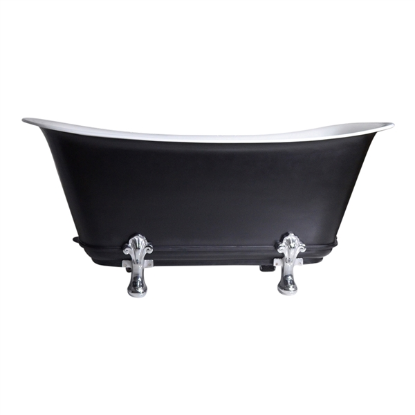 "'The Fontenelle73' 73"" Freestanding Cast Iron Chariot Clawfoot Tub with an Eggshell Onyx Black Exterior plus Drain"