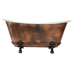 "'The FontenayAgedCopper73' 73"" Cast Iron Chariot Clawfoot Tub with PURE METAL Aged Copper Exterior and Drain"