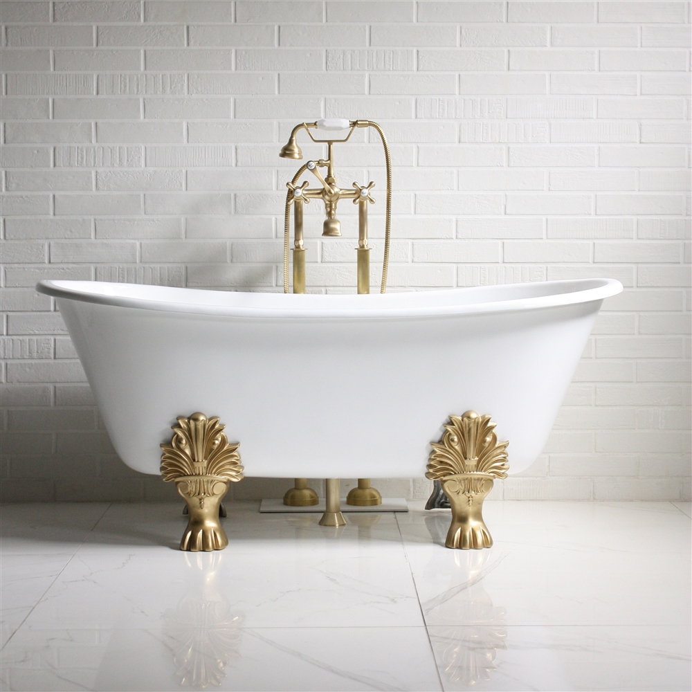 The Fountains Cast Iron French Bateau Clawfoot Tub With Fixtures - Cast iron bathroom fixtures