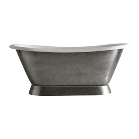"Aged Chrome 'Furness-66' 66"" All Inclusive Cast Iron Plinth Bateau Tub Package"