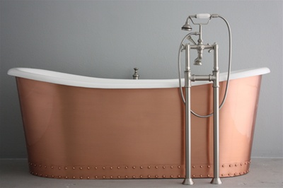 "<br>'The Glastonbury' 73"" Cast Iron French Bateau Tub Package with BRUSHED COPPER Exterior<br><br>Steel outer shell clad in brushed and lacquered copper<br>"
