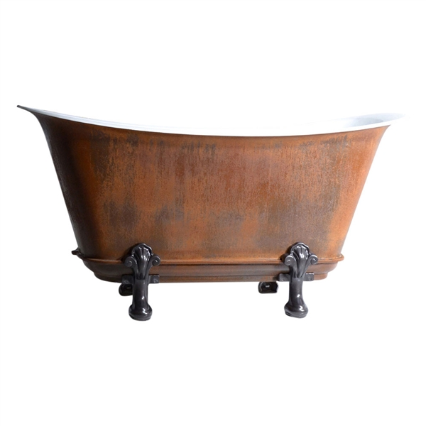 "'The Honcourt59' 59"" Freestanding Cast Iron Chariot Clawfoot Tub with an IRON RUST exterior plus Drain"