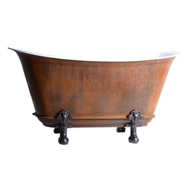"'The Honcourt73' 73"" Freestanding Cast Iron Chariot Clawfoot Tub with an IRON RUST exterior plus Drain"