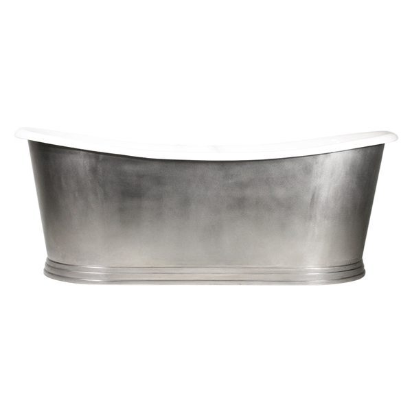 "'The Hamilton59' 59"" Cast Iron French Bateau Tub with Burnished Stainless Steel Exterior with Penhaglion Step Base and Drain"
