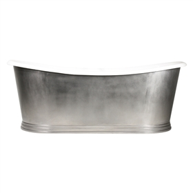 "'The Hamilton68' 68"" Cast Iron French Bateau Tub with Burnished Stainless Steel Exterior with Penhaglion Step Base and Drain"