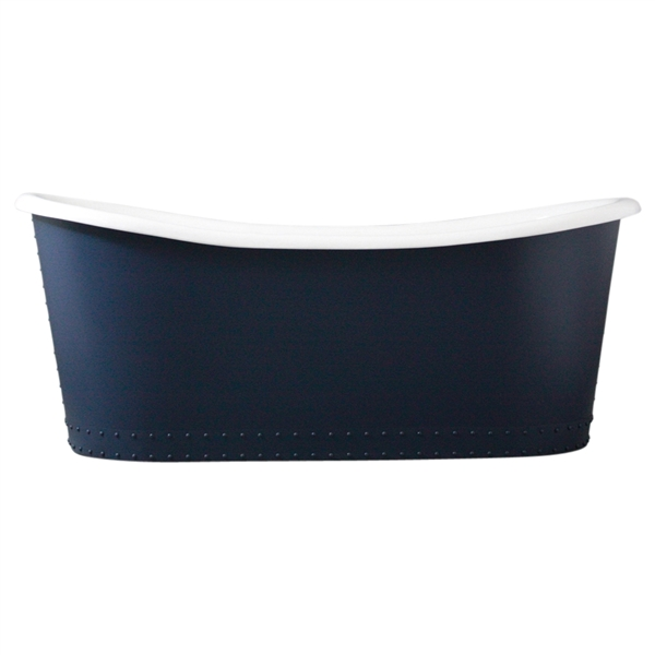 "Any Solid Color 'Hexham73' 73"" Cast Iron French Bateau Tub and Drain"