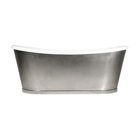 "'The INCHMARNOCK73' 73"" CoreAcryl Acrylic French Bateau Tub with Mixed Stainless Steel Exterior and Drain"