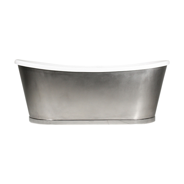 "'The INCHMARNOCK67' 67"" CoreAcryl Acrylic French Bateau Tub with Mixed Stainless Steel Exterior and Drain"