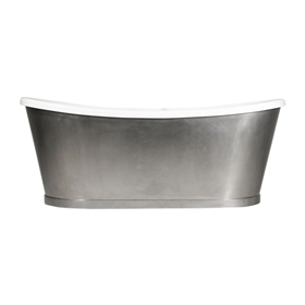 "<br>'The IONA73' 73"" CoreAcryl Acrylic French Bateau Tub with Burnished Stainless Steel Exterior plus Drain<br>"