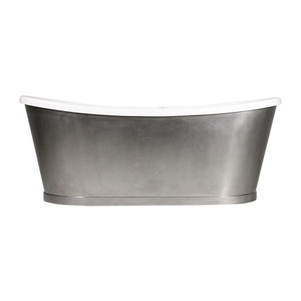 "'The IONA73' 73"" CoreAcryl Acrylic French Bateau Tub with Burnished Stainless Steel Exterior and Drain"