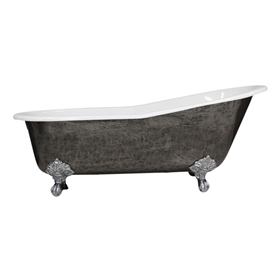 "'The Kelso' 67"" Cast Iron Single Slipper Clawfoot Tub with a HAND BURNISHED Natural Iron Exterior plus Drain"