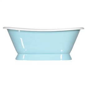 "Any Solid Color 'Kingsmead-66' 66"" All Inclusive Cast Iron Plinth Bateau Tub Package"