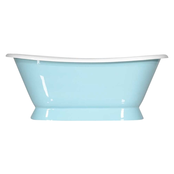 "Any Solid Color 'Kingsmead-66' 66"" Cast Iron Plinth Bateau Tub with Drain"