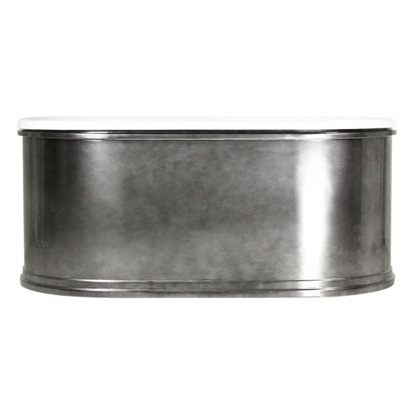"'The Knightsbridge66' 66"" Cast Iron Double Ended Tub with Aged Chrome Exterior and Drain"