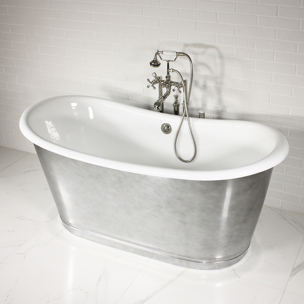 The Lancaster\' French Bateau WHIRLPOOL AIR JETTED Cast Iron Tub with ...