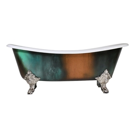 "'The Lanercost73' 73"" Cast Iron French Bateau Clawfoot Tub with Copper Patina Exterior and Drain"