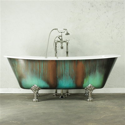 "'The LanercostBT68' 68"" Cast Iron French Bateau Clawfoot Tub with Copper Patinated Exterior"
