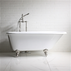 "'The Launde' 60"" Vintage Designer Cast Iron Clawfoot Bateau Bathtubs from Penhaglion."