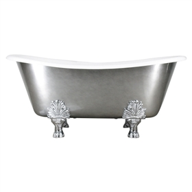"'The Lenton' 68"" Cast Iron French Bateau Clawfoot Tub with Aged Chrome Exterior and Drain"