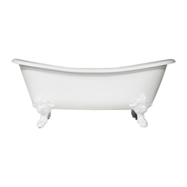 "Any Solid Color 'Leonard' 73"" Cast Iron French Bateau Clawfoot Tub and Drain"