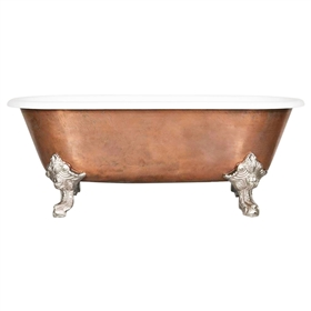 "'The Lille-66' 66"" Cast Iron Double Ended Clawfoot Tub with a 20-Year Old Aged Copper Exterior and Drain"